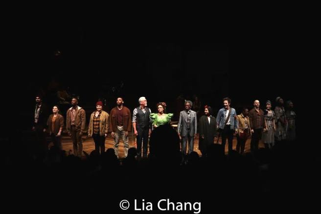 Hadestown Opening night curtain call in the Olivier Theatre at the National Theatre in London on November 13, 2018. Photo by Lia Chang