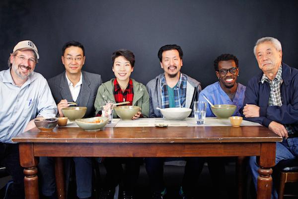 Director Todd Salovey, Yong Kim, Audrey Park, Brian Kim, Terrell Donnell Sledge, Dana Lee. Photo by Peggy Ryan