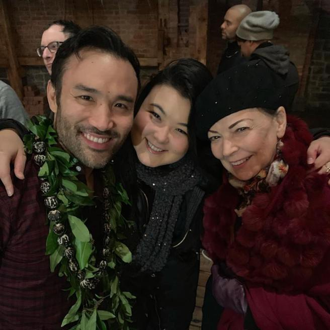 Marc delaCruz, Olivia Oguma and Karen Piperata-Oguma at the Richard Rodgers Theatre in New York on January 20, 2019. (Facebook)