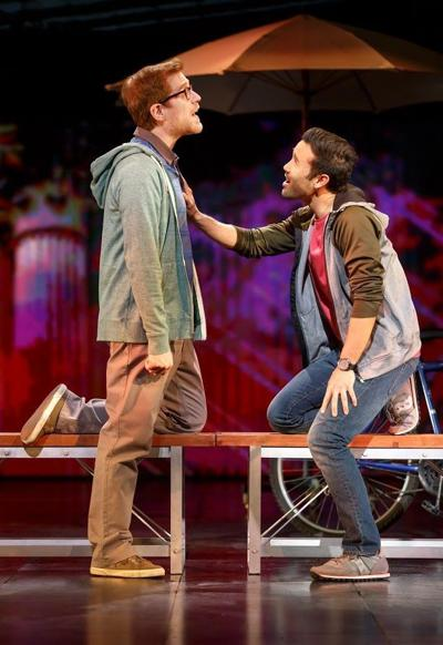 "Anthony Rapp, left, and Marc delaCruz in ""If/Then."" Photo by Joan Marcus"