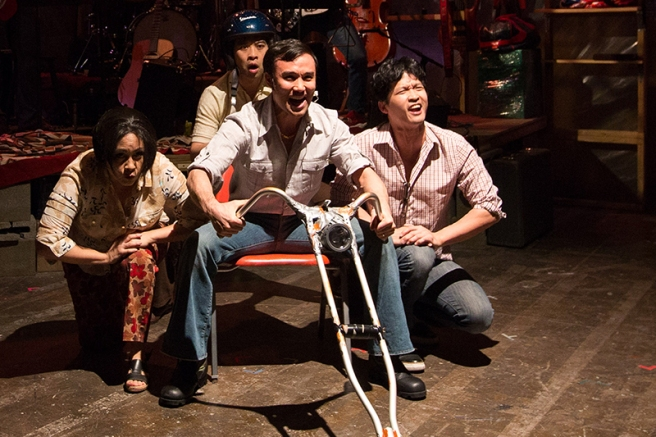 Eileen Rivera, Joe Ngo, Marc Delacruz, and Jacob Yeh in Vietgone. Photo: Teresa Wood.