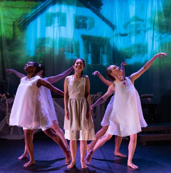 Nichole Forde, Ali Ewoldt, Brooke Averi and company in ANNE OF GREEN GABLES. Photo by Russ Rowland