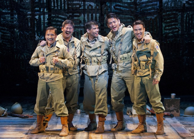 Telly Leung as Sammy Kimura (center) with (from left) Jon Jon Briones, Scott Watanabe, Karl Josef Co and Marc de la Cruz in the World Premiere of Allegiance - A New American Musical, with music and lyrics by Jay Kuo and book by Marc Acito, Kuo and Lorenzo Thione, directed by Stafford Arima, Sept. 7 - Oct. 21, 2012 at The Old Globe. Photo by Henry DiRocco.