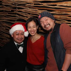 Brian Jose, Lia Chang and Brian Kim at Pio Pio in New York on December 24, 2018. Photo by Lia Chang