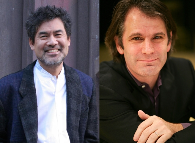 David Henry Hwang (Photo by Lia Chang) and Bartlett Sher.