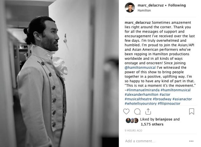 Marc delaCruz backstage at the Richard Rodgers Theatre in New York. Photo courtesy of Marc delaCruz (Instagram)