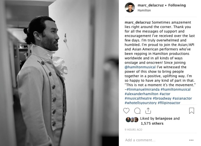 Marc delaCruz backstage at the Richard Rodgers Theatre in New York. Photo courtesy of Marc delaCruz (Instagram)