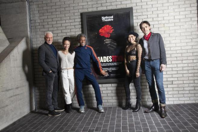 Patrick Page, Amber Gray, André De Shields, Eva Noblezada, Reeve Carney. Photo by Bronwen Sharp