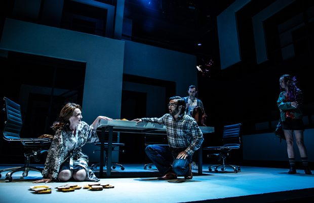 "From left, Kelsey Venter, Marc delaCruz, Riley McFarland and Bradley McKelvey-Askin in Tantrum Theater's production of ""Next to Normal"". Photo by Daniel Winters."