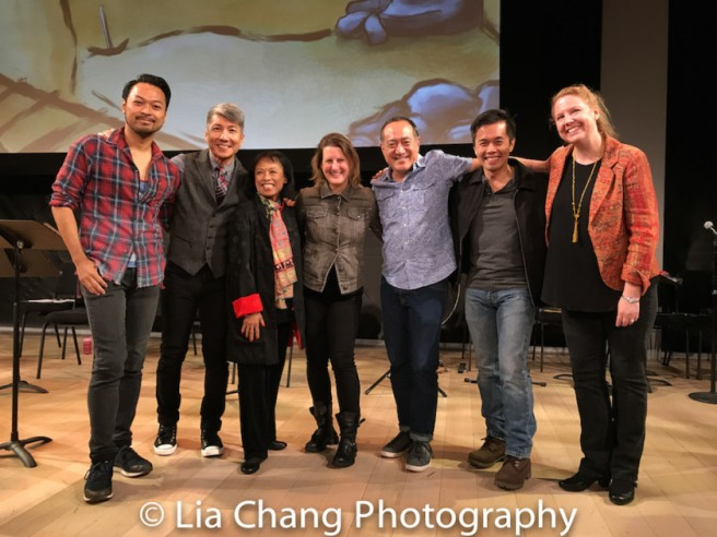 GOLD MOUNTAIN choreographer Billy Bustamante, Creator Jason Ma, NAAP Co-founder Baayork Lee, Musical Director Kristen Lee Rosenfeld, Director Alan Muraoka, NAAP Co-founder Steven Eng and Prospect Theater Company Artistic Director Cara Reichel. Photo by Lia Chang