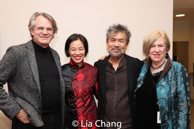 Bartlett Sher, Lia Chang, David Henry Hwang and Rachel Cooper, Asia Society Director for Performing Arts and Cultural Programs. Photo by Garth Kravits