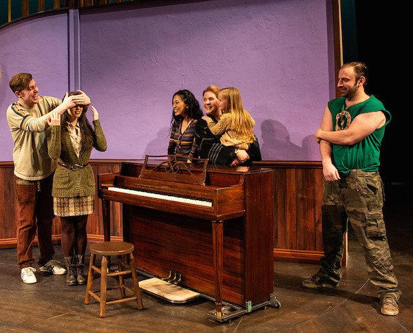 "From left to right: Cody Craven (Andrej), Hillary Porter (Girl), EJ Zimmerman (Reza), Mary Fanning Driggs (Baruska), Hailey Burnham (Ivonka) and Zander Meisner (Švec) in Pioneer Theatre Company's ""Once."" Photo by BW Productions"
