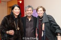 David Henry Hwang is flanked by Nadine Wong, Executive Director of Morgan Stanley Private Wealth Management and Jane Safer, both Trustees of the American Theatre Wing. Photo by Lia Chang
