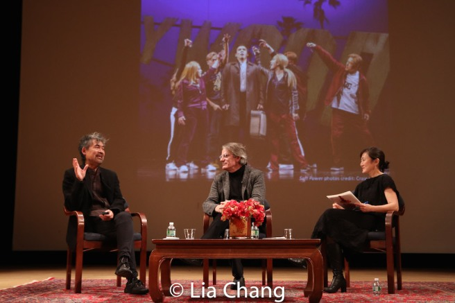 David Henry Hwang, Bartlett Sher and Karen Shimakawa discuss a scene from SOFT POWER. Photo by Lia Chang