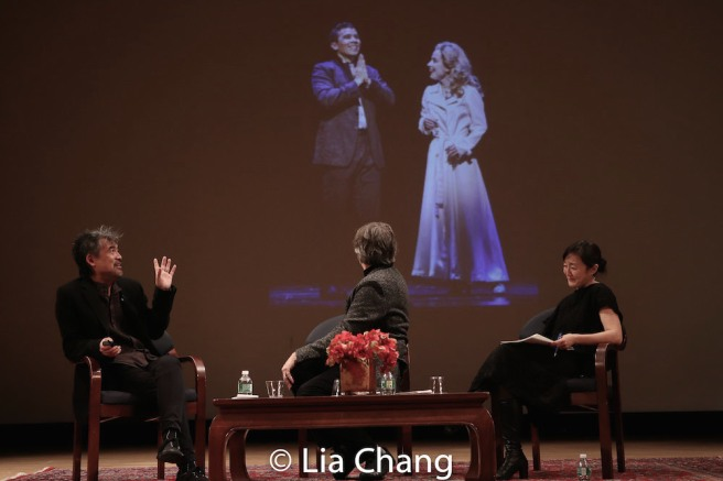 David Henry Hwang, Bartlett Sher and Karen Shimakawa discuss a scene from SOFT POWER featuring Conrad Ricamora and Alyse Alan Louis. Photo by Lia Chang