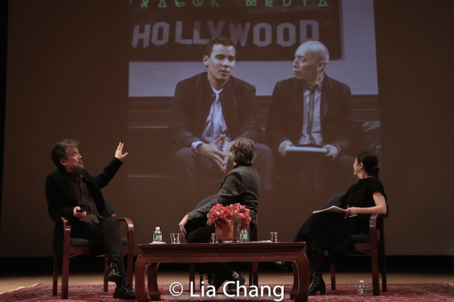 David Henry Hwang, Bartlett Sher and Karen Shimakawa discuss a scene from SOFT POWER featuring Conrad Ricamora and Francis Jue. Photo by Lia Chang