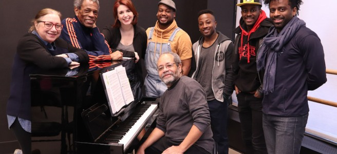 Costume Designer Gail Brassard, Director Andre De Shields, Choreographer Kimberly Schafer, Tommy Scrivens, Wesley Barnes, Lamont Brown, C.K. Edwards with Musical Director Nat Adderley, Jr. Photo by Lia Chang