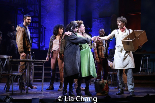 Amber Gray, Eva Noblezada, Reeve Carney and the company of HADESTOWN. Photo by Lia Chang