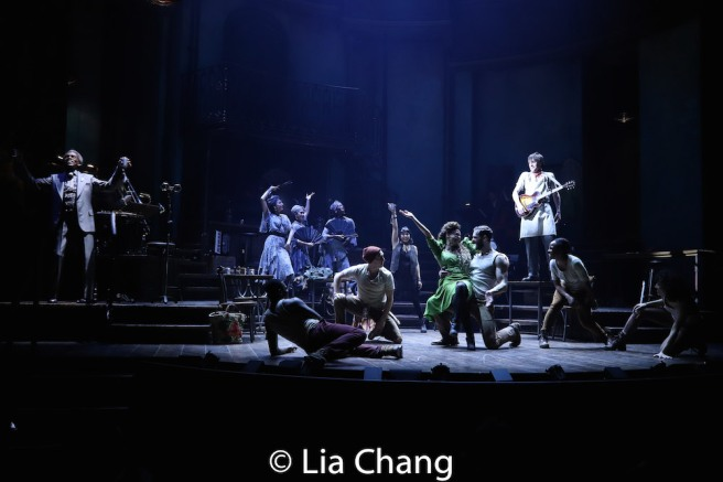 Eva Noblezada as Eurydice, Amber Gray as Persephone, Timothy R. Hughes, Reeve Carney as Orpheus , Kimberly Marable and the company of HADESTOWN. Photo by Lia Chang