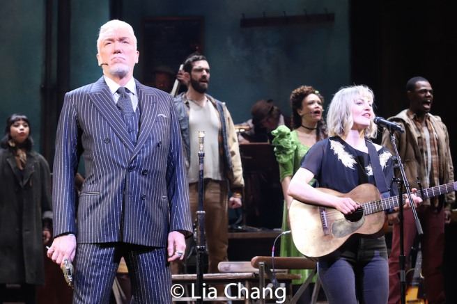 Patrick Page, Anaïs Mitchell and the company of HADESTOWN. Photo by Lia Chang