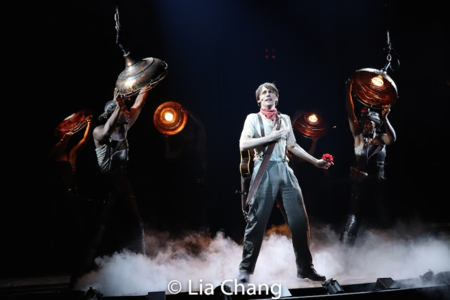 Reeve Carney and the company of HADESTOWN. Photo by Lia Chang