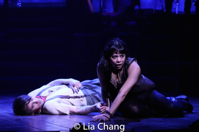 Reeve Carney as Orpheus and Eva Noblezada as Eurydice. Photo by Lia Chang