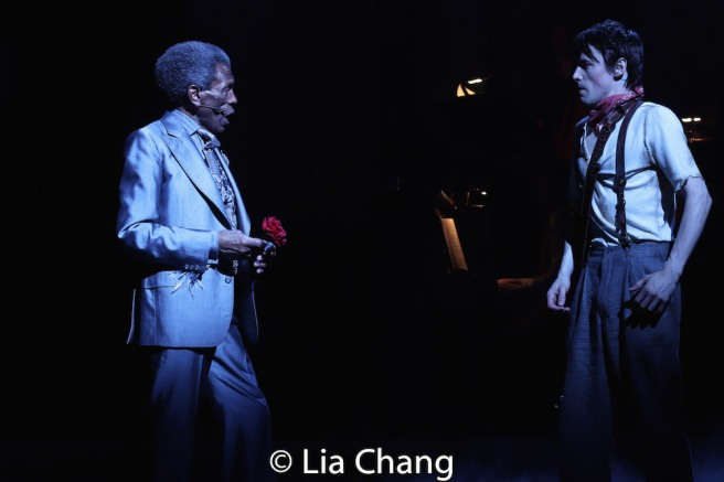André De Shields as Hermes and Reeve Carney as Orpheus. Photo by Lia Chang