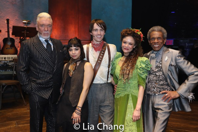 Patrick Page, Eva Noblezada, Reeve Carney, Amber Gray and André De Shields. Photo by Lia Chang