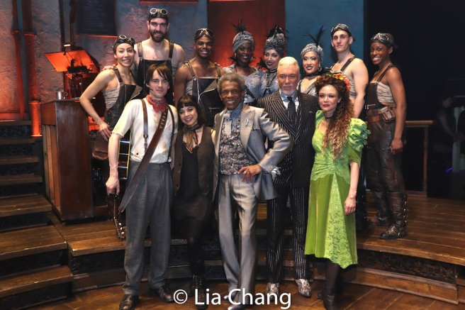 Front Row: Reeve Carney, Eva Noblezada, André De Shields, Patrick Page, Amber Gray. Back Row: Afra Hines, Timothy Hughes, Ahmad Simmons, Jewelle Blackman, Yvette Gonzalez-Nacer, Kay Trinidad, John Krause, Kimberly Marable. Photo by Lia Chang