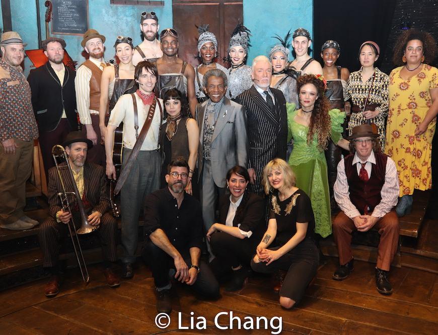 Front Row: HADESTOWN Choreographer David Neumann, Director Rachel Chavkin and Creator Anaïs Mitchell with the company. Photo by Lia Chang