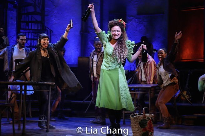 Eva Noblezada as Eurydice, Amber Gray as Persephone and the company of HADESTOWN. Photo by Lia Chang