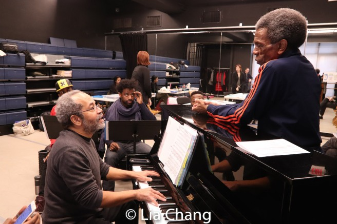 Musical Director Nat Adderley, Jr., Lamont Brown, C.K. Edwards. Wesley Barnes and Director André De Shields. Photo by Lia Chang