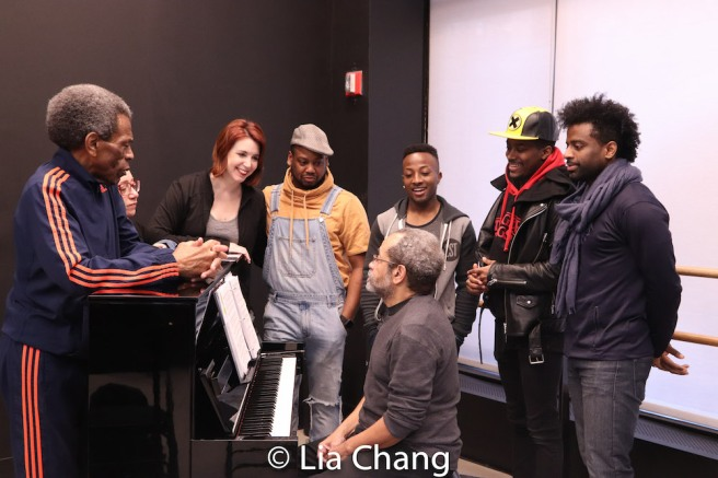 Director André De Shields, Costume Designer Gail Brassard, Choreographer Kimberly Schafer, Tommy Scrivens, Wesley Barnes with Musical Director Nat Adderley, Jr. Photo by Lia Chang
