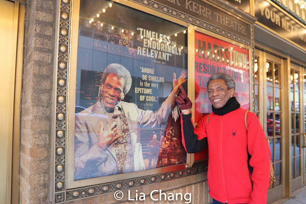 André De Shields in front of the Walter Kerr Theatre in New York, where HADESTOWN begins previews on March 22, 2019. Photo by Lia Chang