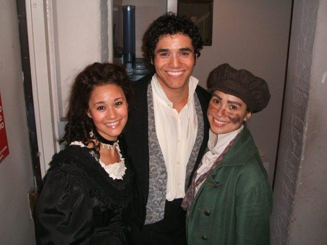 Ali Ewoldt (Cosette), Adam Jacobs (Marius) and Lea Salonga (Fantine) backstage at LES MIS.