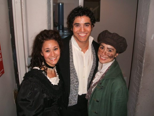 Ali Ewoldt (Cosette), Adam Jacobs (Marius) and Lea Salonga (Fantine) backstage at LES MIS.