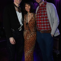 Reeve Carney, Eva Noblezada and Mark William at The Green Room 42. Photo by Lia Chang