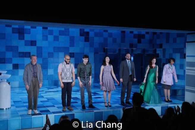 Opening night curtain call with Tom Aulino, Ugo Chukwu, Justin Long, Tiffany Villarin, Greg Keller, Megan Hill and Jeanne Sakata. Photo by Lia Chang