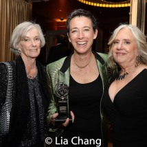2019 Tony Award winner Rachel Hauck with her mother and Lisa Peterson. Photo by Lia Chang