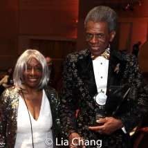 """Vinie Burrows with André De Shields, winner of the award for Best Performance by an Actor in a Featured Role in a Musical for """"Hadestown,"""" at Radio City Music Hall on June 9, 2019 in New York. Photo by Lia Chang"""