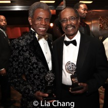 """André De Shields, winner of the award for Best Performance by an Actor in a Featured Role in a Musical for """"Hadestown"""" and Harold Wheeler, winner of the Special Tony Award for Lifetime Achievement in the Theatre at Radio City Music Hall on June 9, 2019 in New York City. Photo by Lia Chang"""