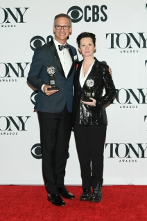"Nevin Steinberg and Jessica Paz, winners of the award for Best Sound Design of a Musical award for ""Hadestown,"" pose in the press room for the 73rd Annual Tony Awards at 3 West Club on June 9, 2019 in New York City. (Photo by Mike Coppola/Getty Images for Tony Awards Productions)"