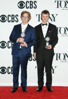 "Michael Chorney and Todd Sickafoose, winner of the award for Best Orchestrations for ""Hadestown,"" poses in the press room for the 73rd Annual Tony Awards at 3 West Club on June 9, 2019 in New York City. (Photo by Mike Coppola/Getty Images for Tony Awards Productions)"