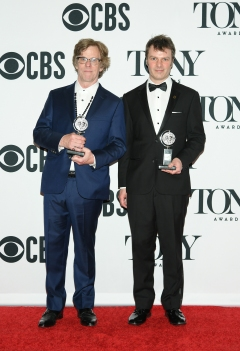 """Michael Chorney and Todd Sickafoose, winner of the award for Best Orchestrations for """"Hadestown,"""" poses in the press room for the 73rd Annual Tony Awards at 3 West Club on June 9, 2019 in New York City. (Photo by Mike Coppola/Getty Images for Tony Awards Productions)"""