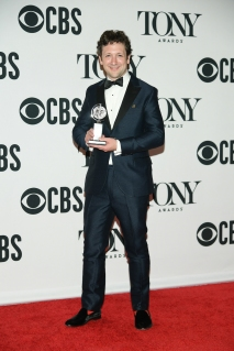 "Bradley King, winner of the award for Best Lighting Design of a Musical for ""Hadestown,"" poses in the press room for the 73rd Annual Tony Awards at 3 West Club on June 9, 2019 in New York City. (Photo by Mike Coppola/Getty Images for Tony Awards Productions)"