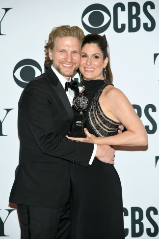 "Sebastian Arcelus and Stephanie J. Block, winner of the award for Best Performance by an Actress in a Leading Role in a Musical for ""The Cher Show,"" pose in the press room for the 73rd Annual Tony Awards at 3 West Club on June 9, 2019 in New York City. (Photo by Mike Coppola/Getty Images for Tony Awards Productions)"