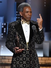 NEW YORK, NEW YORK - JUNE 09: André De Shields accepts the Best Performance by an Actor in a Featured Role in a Musical award for Hadestown onstage during the 2019 Tony Awards at Radio City Music Hall on June 9, 2019 in New York City. (Photo by Theo Wargo/Getty Images for Tony Awards Productions)