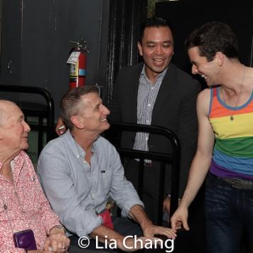 Terrence McNally, Tom Kirdahy, Jose Llana and Michael Urie. Photo by Lia Chang