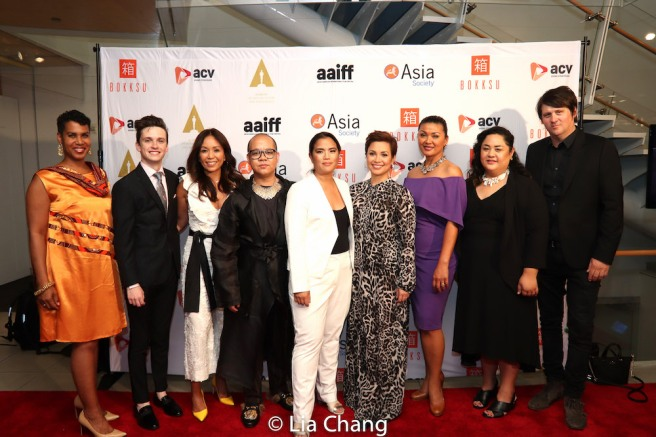 Leslie Lewis, Liam Booth, Producer Karen Elizaga, Co-producer Jeremiah Abraham, Director/Writer Diane Paragas, Lea Salonga, Princess Punzalan, Lead Producer Cecilia R. Mejia, Producer Orian Williams at 42nd Asian American International Film Festival's Opening Night screening of YELLOW ROSE at Asia Society in New York on July 25, 2019. Photo by Lia Chang