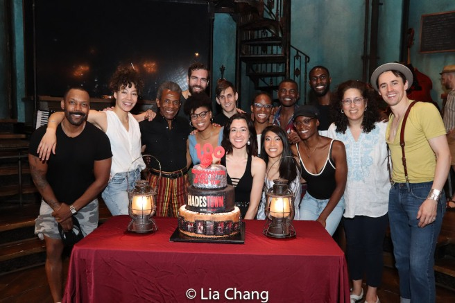 HADESTOWN's cast members T. Oliver Reid, Afra Hines, André De Shields, Khaila Wilcoxon, Tim Hughes, Jessie Shelton, John Krause, Kimberly Marable, Kay Trinidad, Jewelle Blackman, Ahmad Simmons, Malcolm Armwood and producer Mara Isaacs celebrated 100 performances on the stage of The Walter Kerr Theatre in New York on July 13, 2019. Photo by Lia Chang